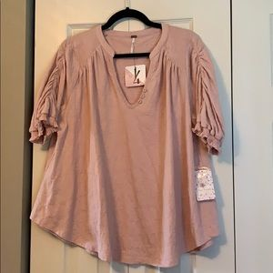 Free People ruched shoulder top